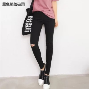 Ripped imitation jeans, women's high-waisted leggings, spring plus size black pencil pants, nine-point trousers and foot pants