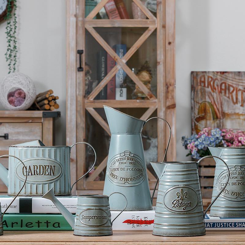 铁艺盆器装饰铁皮桶插花花瓶 北欧花盆干花花瓶 仿古花盆  可定制