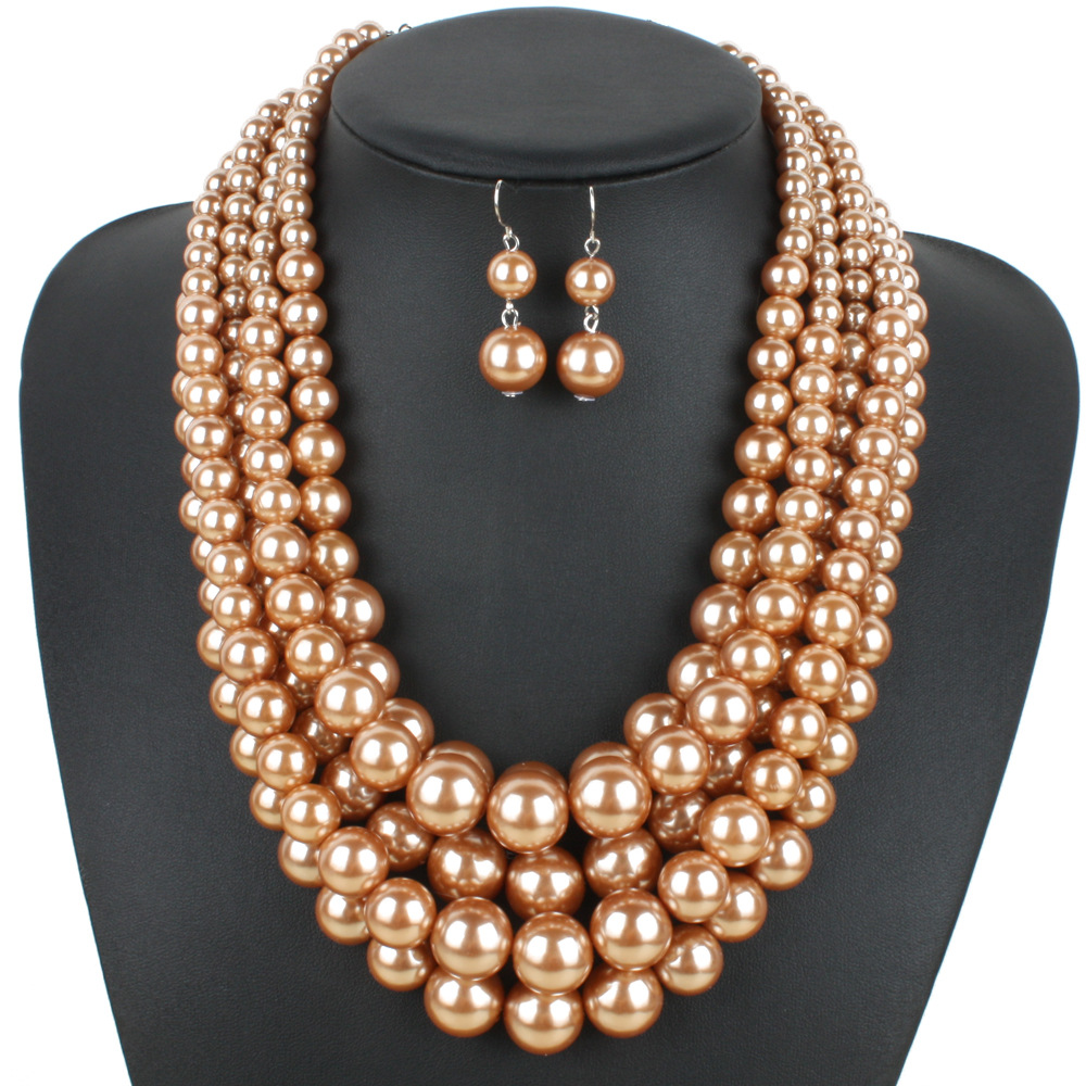 Occident and the United States pearlnecklace (Brown)NHCT0040-Brown