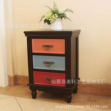 复古彩色家具床头柜储物柜韩式田园风格3斗柜地中海彩绘床头柜