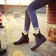 切尔西英伦男女加棉雨鞋防滑松紧带韩版低筒淑女雨靴休闲U型水鞋