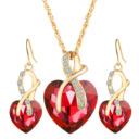 Bộ vòng cổ khuyên tai nữ, thiết kế hình trái tim, kiểu dáng thanh lịch