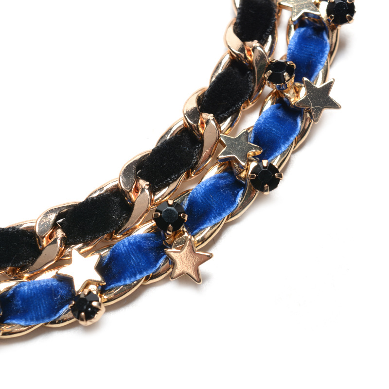 Occident and the United States alloy Diamond necklace (Blue and black)NHYT0466-Blue and black