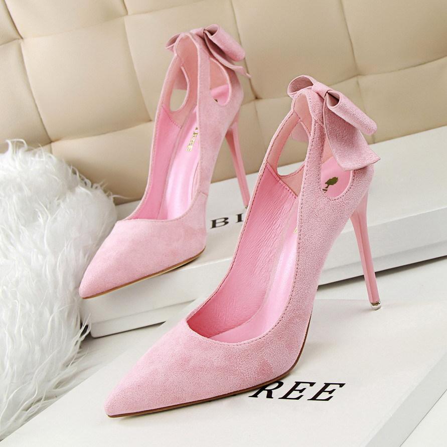 3168-1韩版甜美女高跟鞋细跟显瘦高跟绒面浅口尖头镂空蝴蝶结单鞋