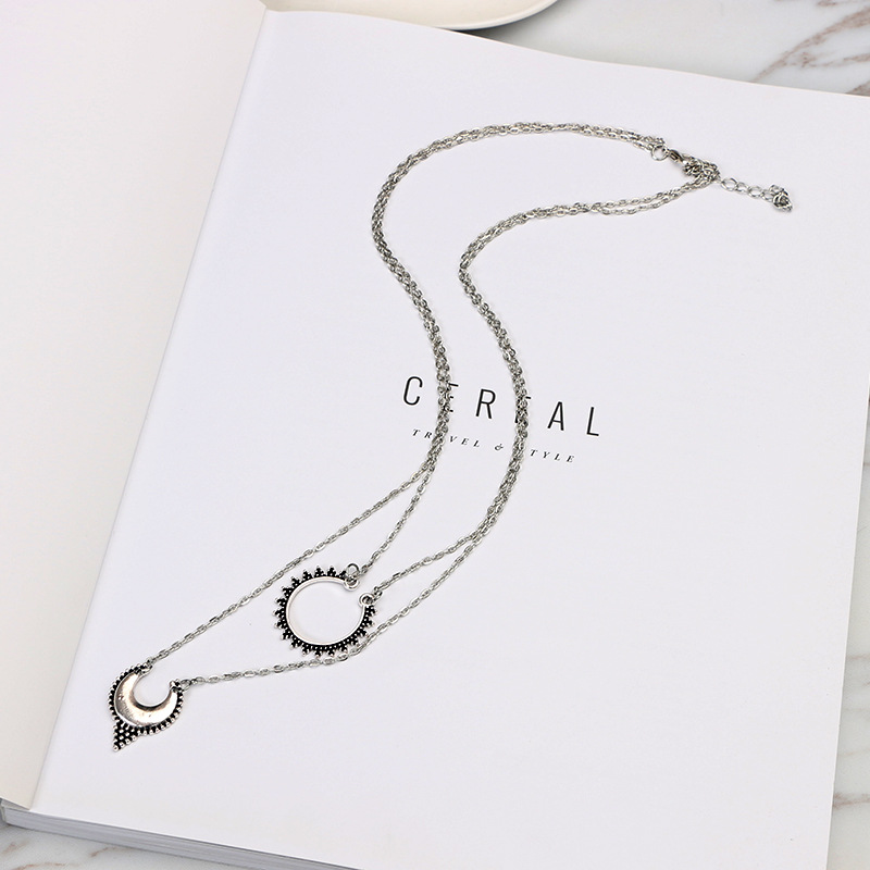Necklace wholesale double nested sun flower necklace meniscus alloy necklace NHGY195408