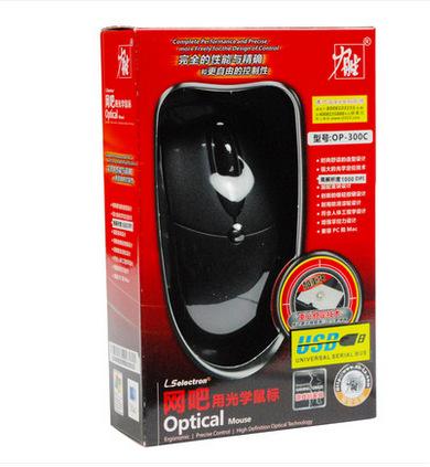 力胜 OP-300C 鼠标 台式机电脑笔记本鼠标 有线 办公网吧鼠标