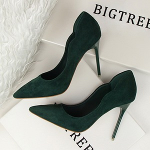 sweet shoes high-heeled shoes shallow suede OL pointed hollow