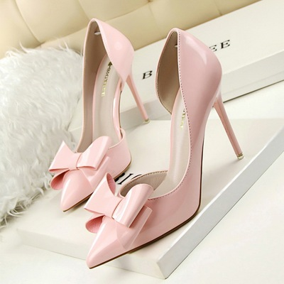 sweet sexy high-heeled shoes shallow mouth tines hollow out patent leather bowknot 's main photo
