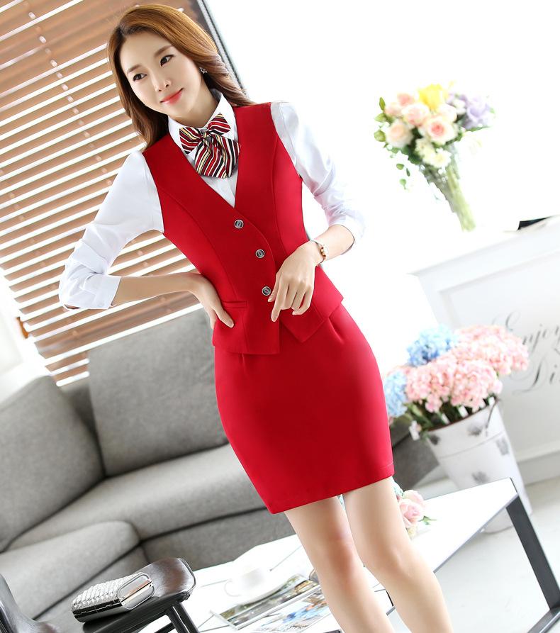 工作服制服职业装女衬衫马甲套装(图14)
