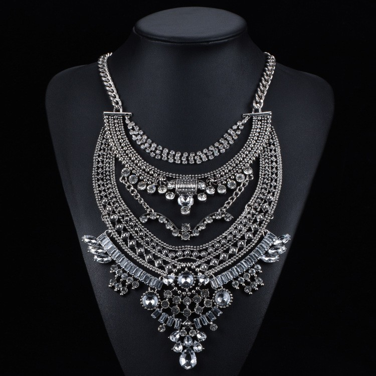 Occident and the United States alloy Diamond necklace (black)NHYT0427-black