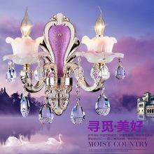 欧式锌合金高仿玉石水晶壁灯卧室床头客厅灯具 单双头背景墙灯饰