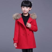 女童呢大衣外套加厚中长款2018新款童装韩版呢子大衣儿童毛呢外套