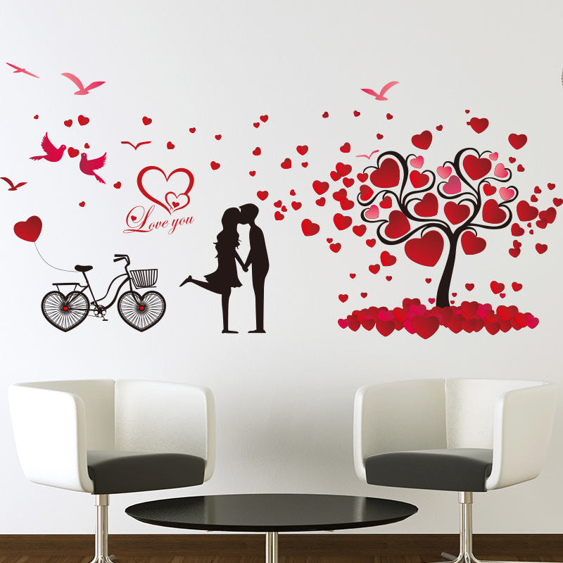 Wedding Decor Wall Stickers Home Decor Valentine Love Tree Heart - Wall stickers for bedrooms interior design