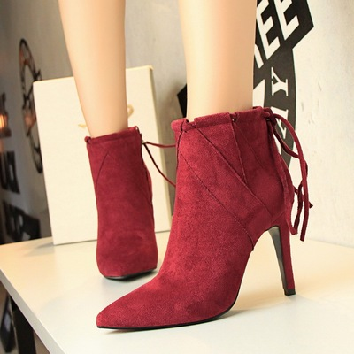 European and American restoring ancient ways high heels suede boots's main photo