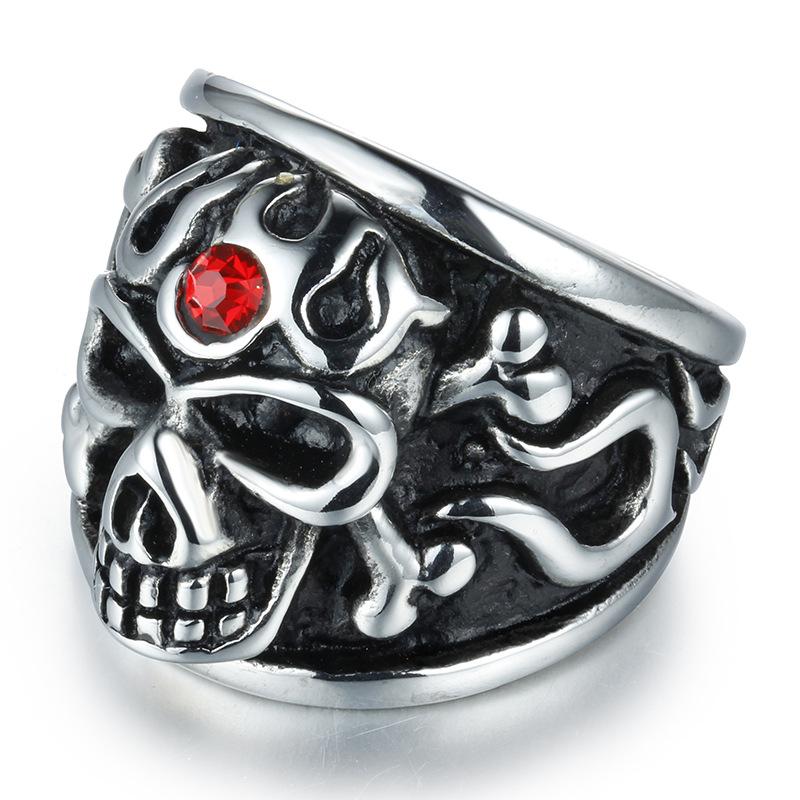 BOHO 欧美潮流朋克戒指 夸张个性骷髅复古钛钢食指指环 热销