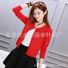 春秋新款韩版针织衫开衫女短款修身长袖外搭圆领小披肩薄外套春装