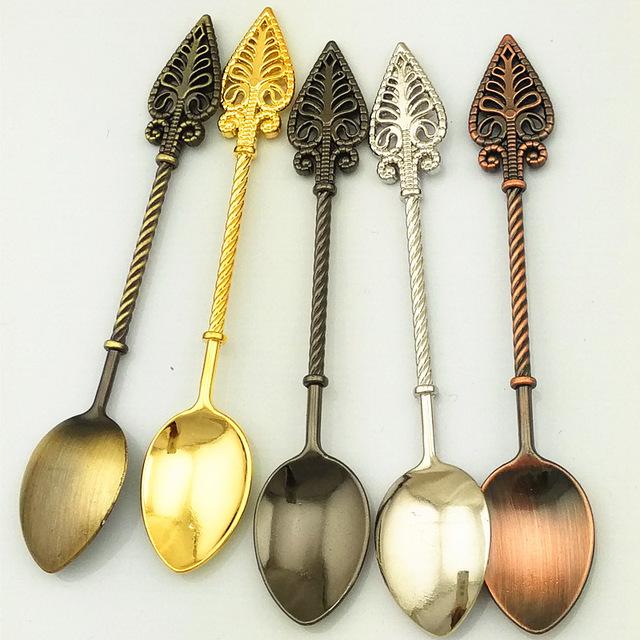 新款复古合金咖啡勺 雪糕勺/果酱勺 小调更 金银铜甜品勺(JY90)