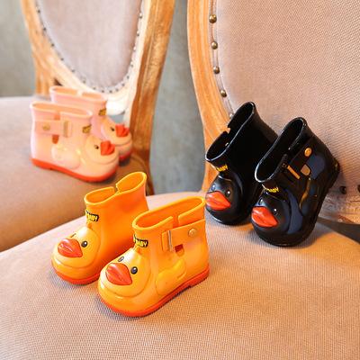 2019跨境一件代发儿童雨鞋 宝宝男童女童小童雨靴 鸭子防滑水鞋