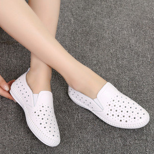 Summer new single shoes white shoes star hollow female casual loafers lazy shoes one-pedal flat heel women's shoes