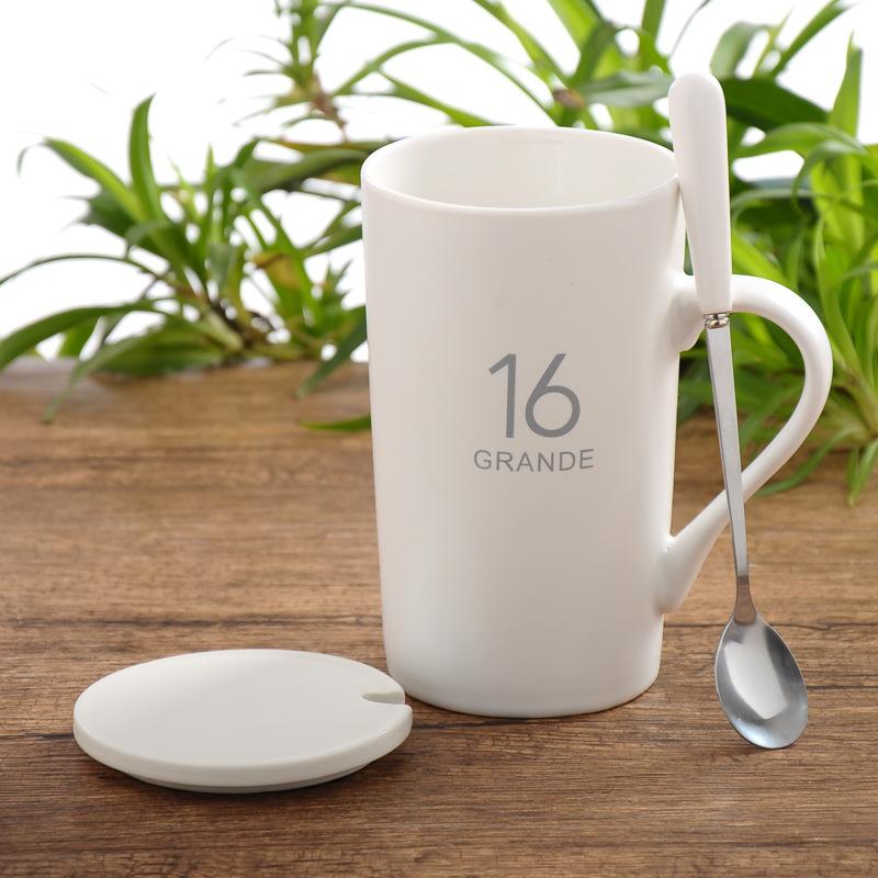 创意马克杯12号数字陶瓷杯子带盖勺水杯牛奶杯咖啡杯定制厂家批发