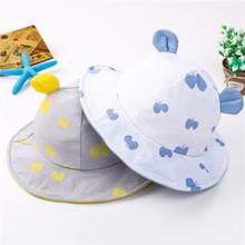 韩版新款宝宝帽子棉布兔耳帽春夏公主帽儿童渔夫帽婴儿太阳帽批发