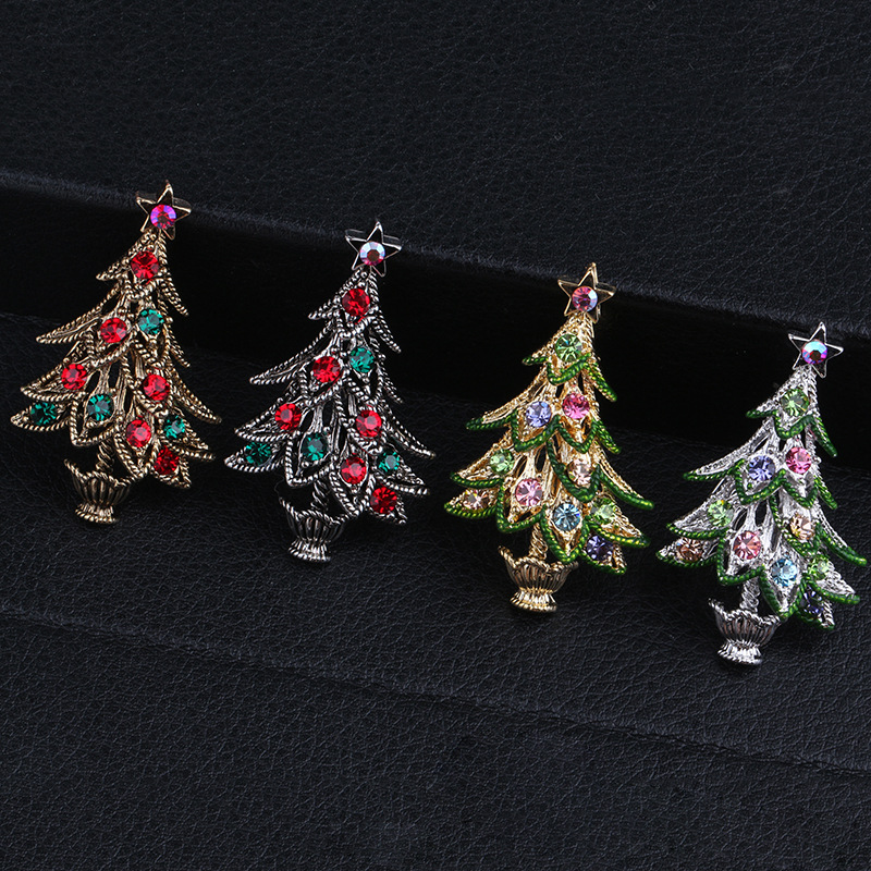 Christmas tree Brooch 2016 new European and American fashion diamond retro suit pin foreign trade Christmas ornaments wholesale