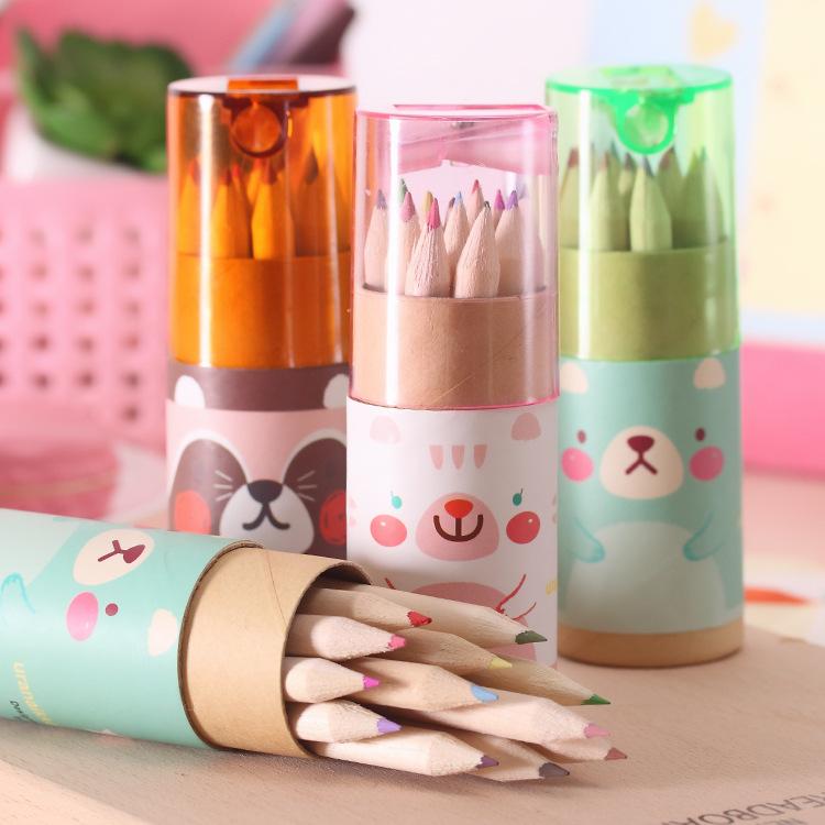 韩版创意文具 可爱mini小熊12色小铅笔绘画笔 涂色笔 彩色铅笔
