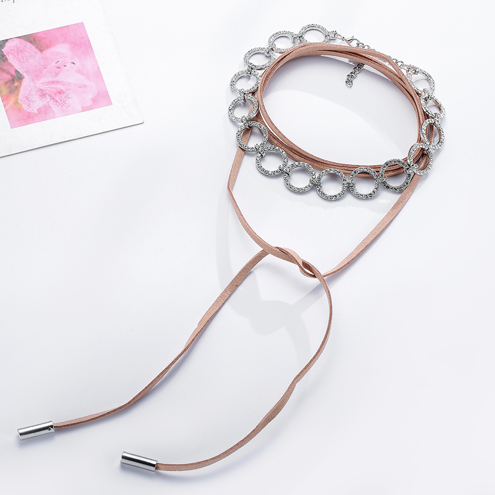 Multi-layer neck chain center acrylic drill alloy necklace NHJE129488