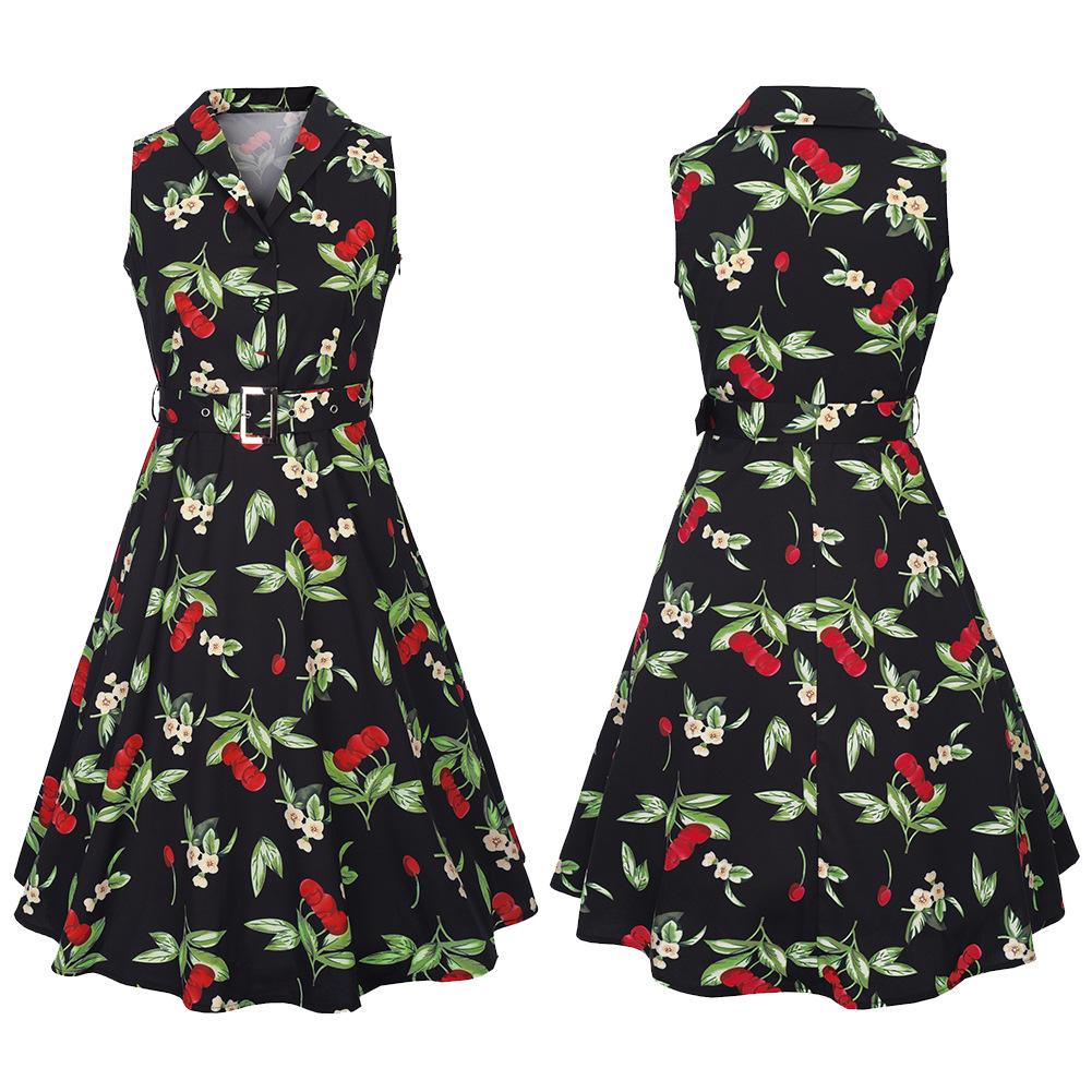 Retro Cotton blended Printing / printing and dyeing dress (C927 Black-2XL)NHRG0087