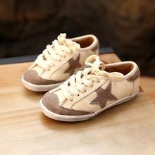 韩国品牌童鞋全真皮百搭儿童运动鞋做?#23578;?#26143;鞋系带轻便休闲鞋批发