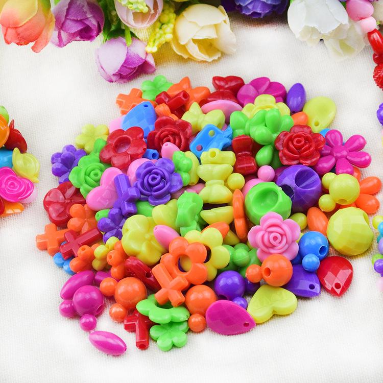 新款多彩diy儿童串珠套装 手工制作益智玩具 造型珠 糖果色珠子