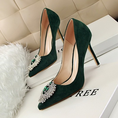 Han edition elegant luxury 516-6 diamond gem shoes high heel with shallow mouth pointed suede sexy women's shoes
