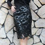 绣花镂空中长款PU皮包臀半身中裙一步水洗皮包裙秋冬春女装潮新款