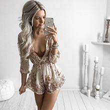 2019跨境女裝 wish亞馬遜ebay爆款 歐美亮片深V長袖連體褲短褲