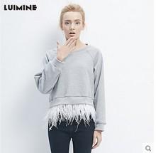 LUIMINE2018春季新款插肩袖衛衣女套頭圓領插肩袖上衣鴕鳥毛下擺