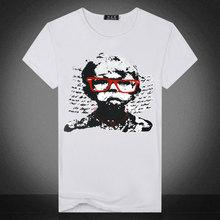 夏季新款男士青年T恤个性时尚男款印花眼镜哭泣小孩图案t恤修身T