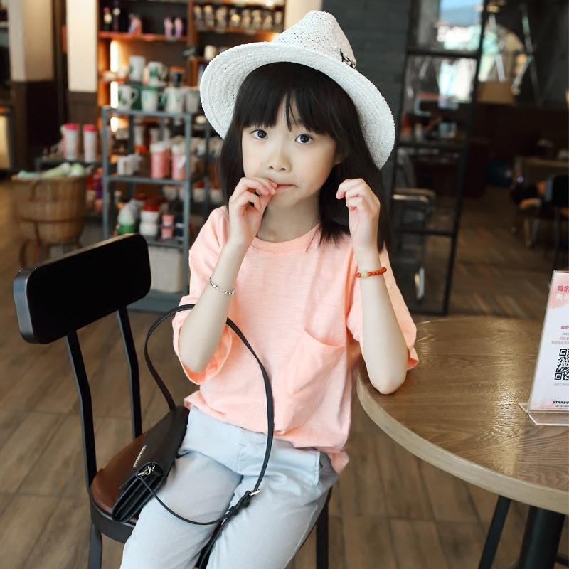 2016夏装新款女童基础款竹节棉宽松短袖T恤打底衫333237