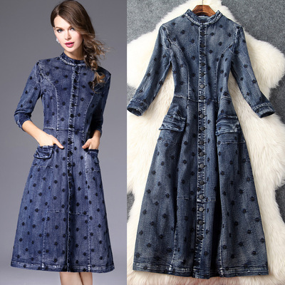 Fall 2016 New Women stand-up collar embroidered sleeve denim skirt Slim put on a large long dress T6013