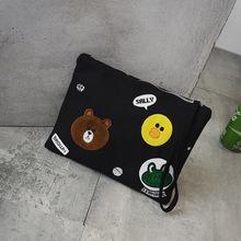 2016韩版休闲布朗熊帆布手拿包时尚单肩包卡通刺绣女包潮一件代发
