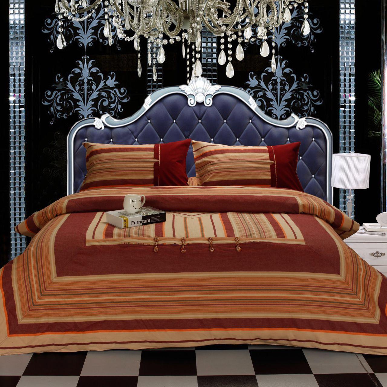 全老粗布四件套棉复古中国风盘扣床上用品家纺床单加密被套批发