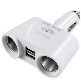 Yingcai Star In-line one for two 120W one minute two cigarette lighter Dual USB smart car charger HSC-101