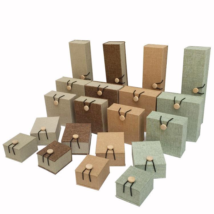 麻布木扣手镯盒佛珠礼品首饰品包装盒 手串吊坠盒 戒指项链盒批发