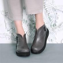 淘宝微商代发手工真皮短靴复古牛皮裸靴踝靴松糕厚底棉麻布衣女鞋