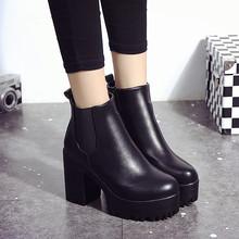 2017新款大牌风范英伦时尚防滑粗高跟裸短靴厚底圆头马丁女靴