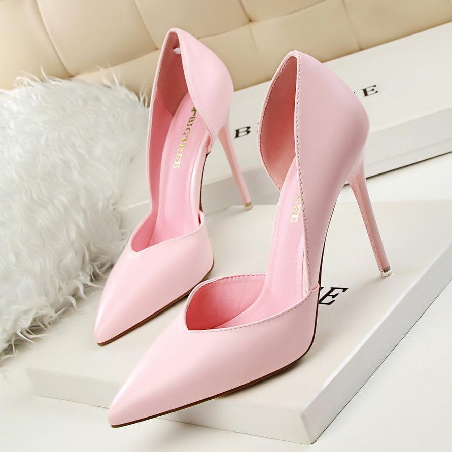3168-3韩版时尚简约性感夜店显瘦女鞋细跟超高跟浅口尖头镂空单鞋