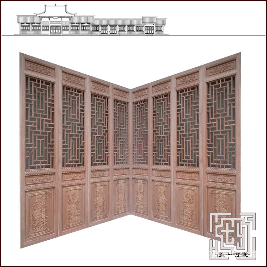 北京廠家訂做中式鏤空花格實木門  古建筑雕刻門窗