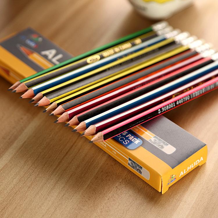 定制满版滚印HB铅笔 印刷铅笔 镭射滚印写字铅笔 带橡皮头学生笔