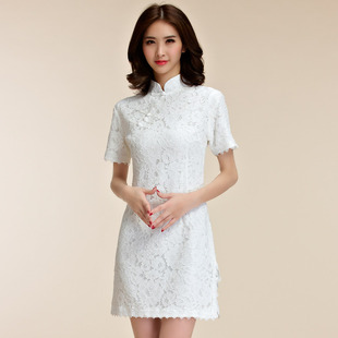 9857 Daily Banquet Fashion Chinese Style Dress Short Sleeve Lace Stand Collar Large Size Women Cheongsam Tang Dress