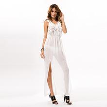 新款外贸原单流苏罩衫 欧美雪纺拼接比基尼沙滩裙批发
