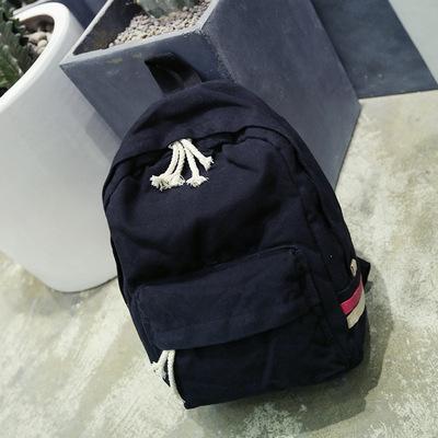 Bông rửa vải ba lô túi màu rắn retro cao đẳng gió công suất lớn ba lô nam và nữ sinh viên trường túi
